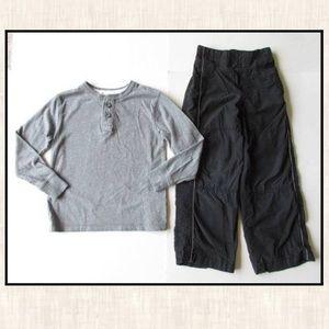 Cherokee S 6-7 Gray Henley Shirt Black Pants Lot